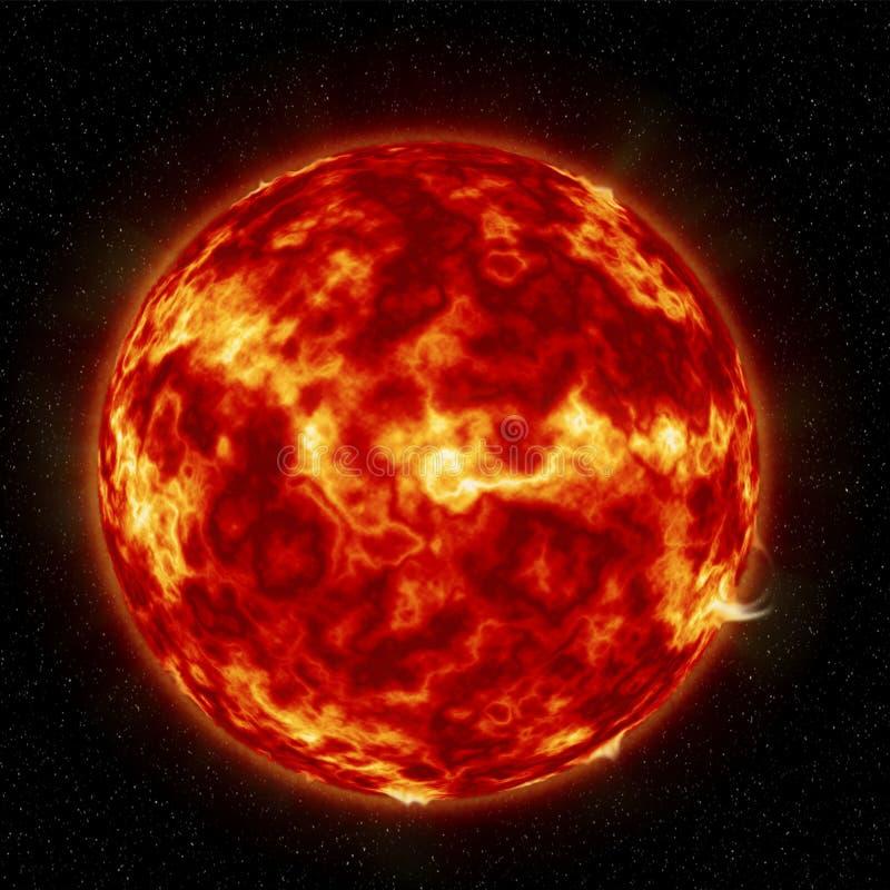 De zon met brandonweren royalty-vrije illustratie