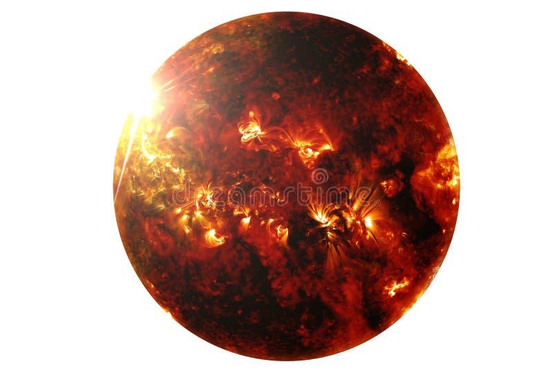 De zon met een reeks zonnedieonweren op Elementen witte als achtergrond van dit beeld worden geïsoleerd werd geleverd door NASA vector illustratie