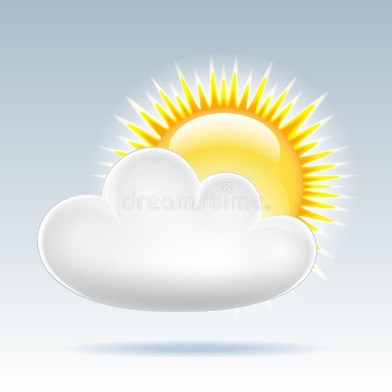De zon met wolk drijft in de hemel stock illustratie
