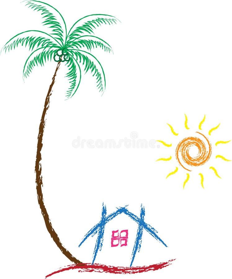 De zon van de huisboom royalty-vrije illustratie