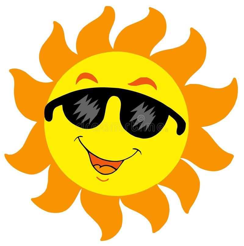 De Zon van het beeldverhaal met zonnebril