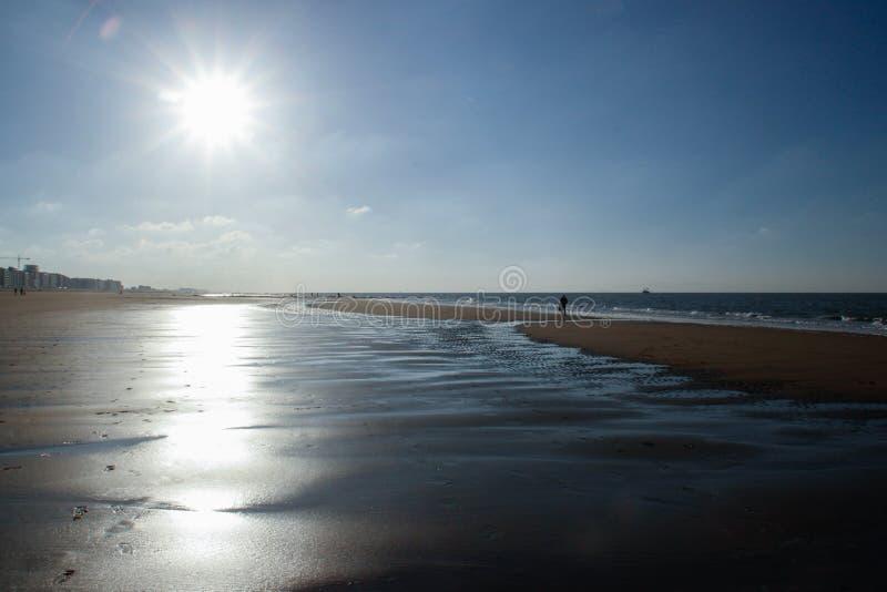 De zon verlicht het verlaten strand van de koude Noordzee in België royalty-vrije stock afbeelding