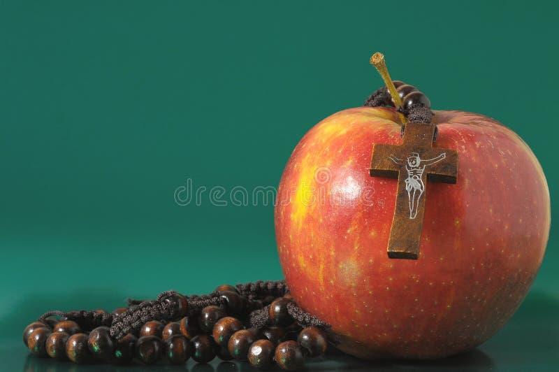 De Zonde Rood Apple van bijbeleva stock afbeelding