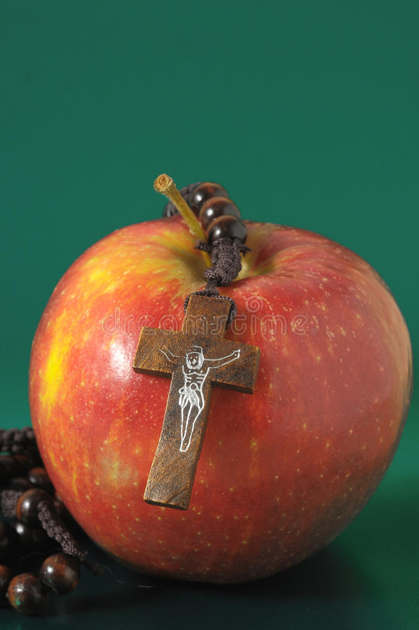 De Zonde Rood Apple van bijbeleva stock foto