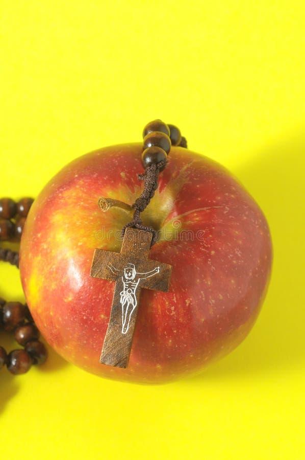 De Zonde Rood Apple van bijbeleva stock afbeeldingen