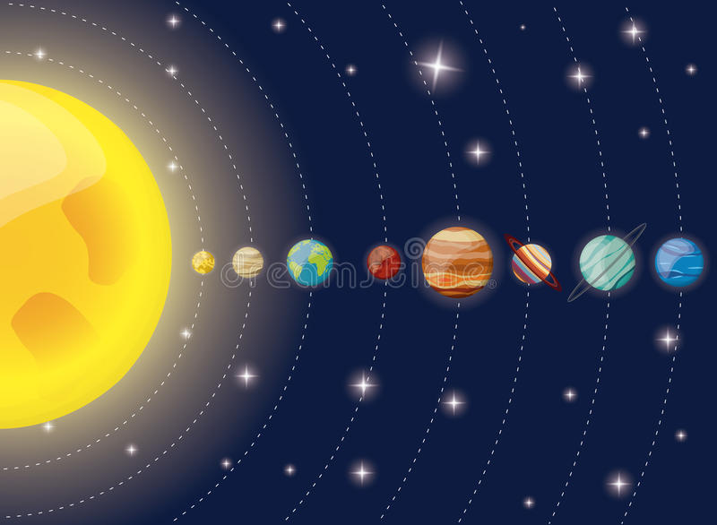 de zondiagram van zonnestelselplaneten stock illustratie