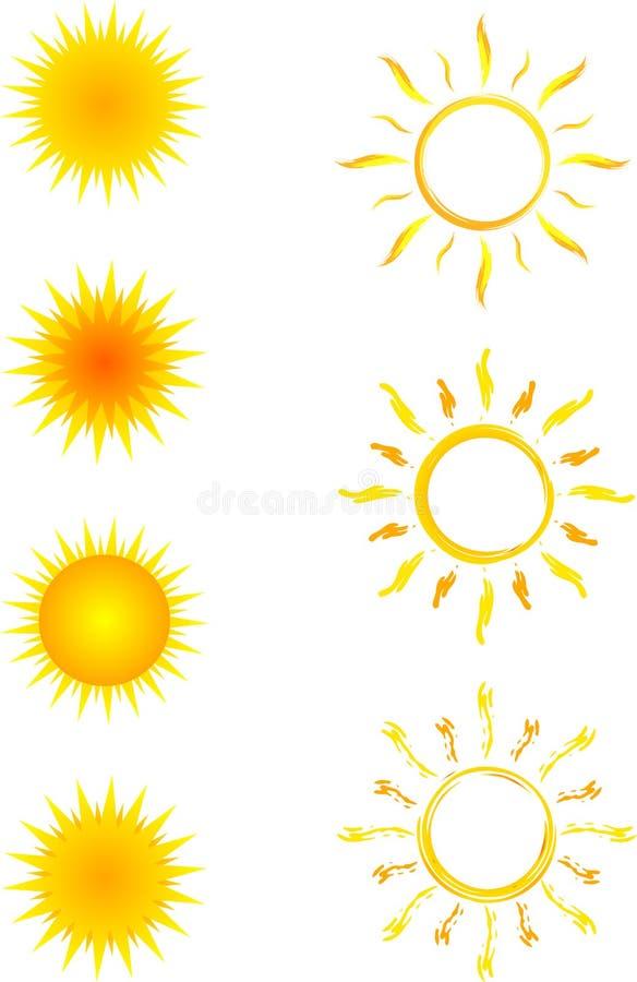 De zoninzameling van pictogrammen stock illustratie