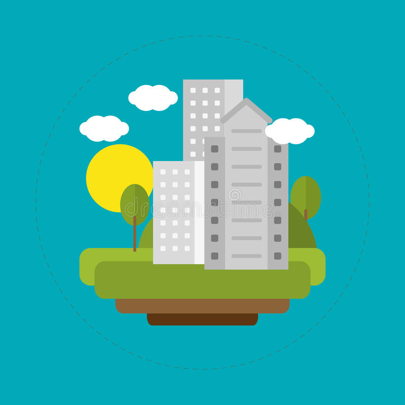 De zonne-energie van het stadslandschap stock illustratie