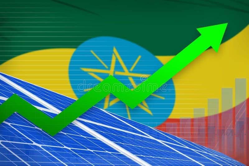 De zonne-energiemacht van Ethiopië het toenemen grafiek, pijl omhoog - alternatieve natuurlijke energie industriële illustratie 3 stock illustratie