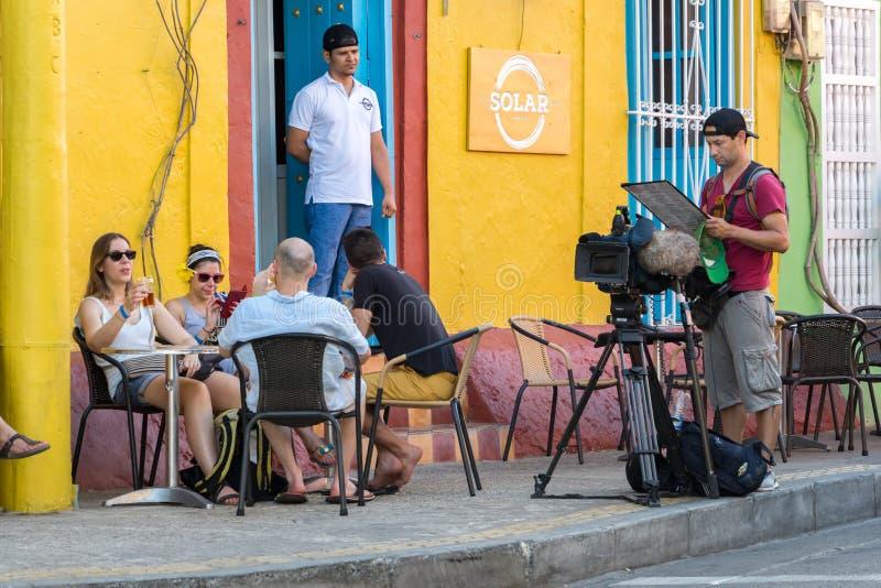 De Zonnebar bij Getsemani-district, Cartagena, Colombia stock afbeelding