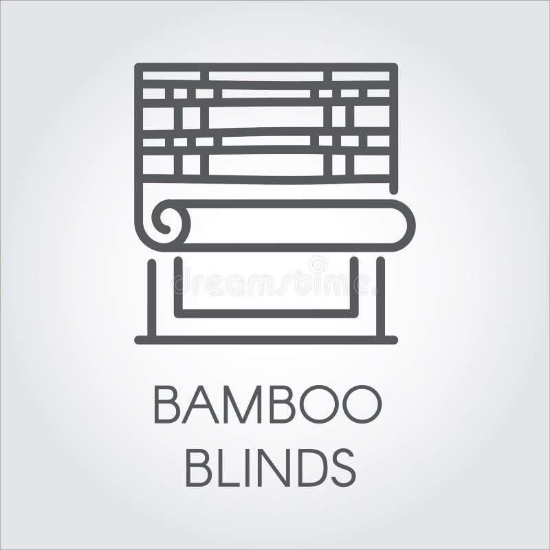 De zonneblindenpictogram van het vensterbamboe in lijnstijl Contourembleem voor verschillende ontwerpbehoeften Huis of bureaudeco stock illustratie