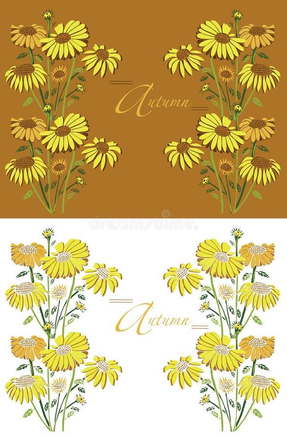 De zonnebloemen van de kaderherfst vector illustratie