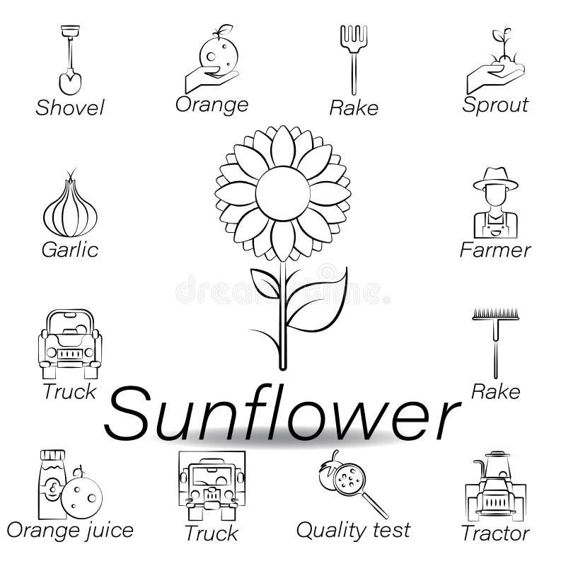 De zonnebloemhand trekt pictogram Element van de landbouw van illustratiepictogrammen De tekens en de symbolen kunnen voor Web, e stock illustratie