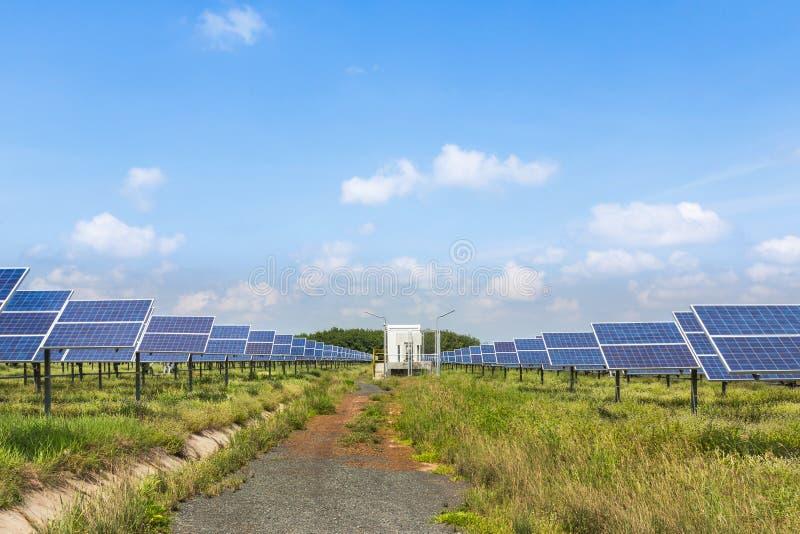 De zonnepanelen van de Photovoltaicsmodule in zonnekrachtcentrale royalty-vrije stock foto
