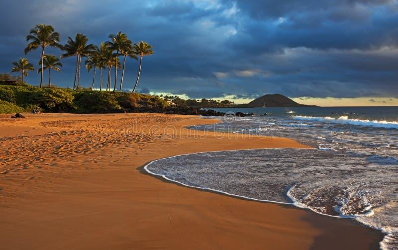 De zonnestraal van de avond, Hawaï stock afbeeldingen