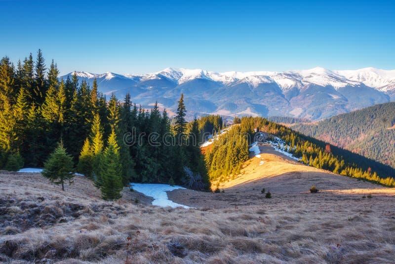 De zonnige dag is in berglandschap stock afbeelding