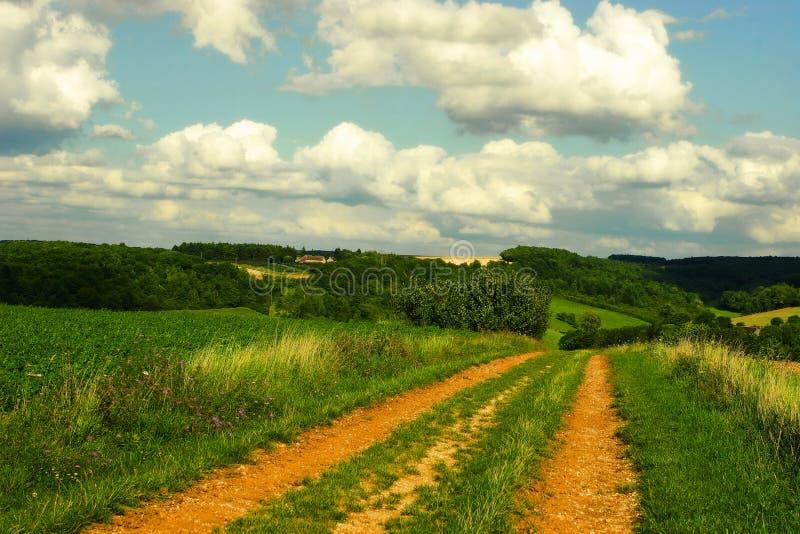 De zonnige dag van de zomer De zomer in Bourgogne, Frankrijk royalty-vrije stock foto