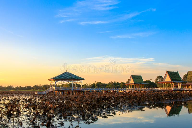 De zonsondergang bij het Paviljoen op meer of vijver of het moeras van Bueng ziet Fai, Phichit, Thailand stock fotografie
