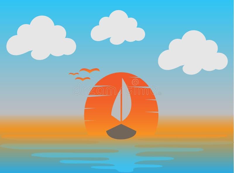 De zonsondergang en een boot met vliegende zeemeeuwen in het overzees voor embleem ontwerpen illustratie stock illustratie