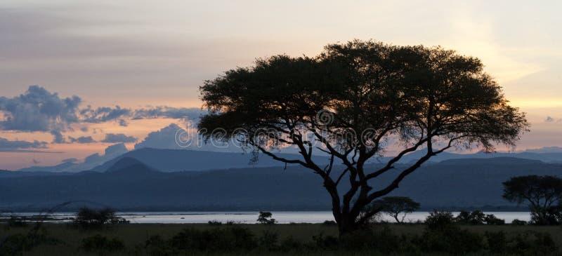 De zonsondergang in Murchisons valt Nationaal Park afrika oeganda royalty-vrije stock foto