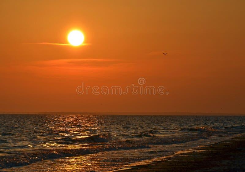 De zonsondergang op het overzees royalty-vrije stock foto