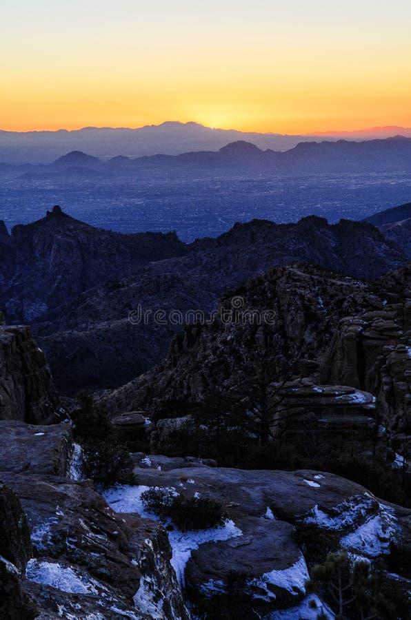 De Zonsondergang van Arizona stock foto's