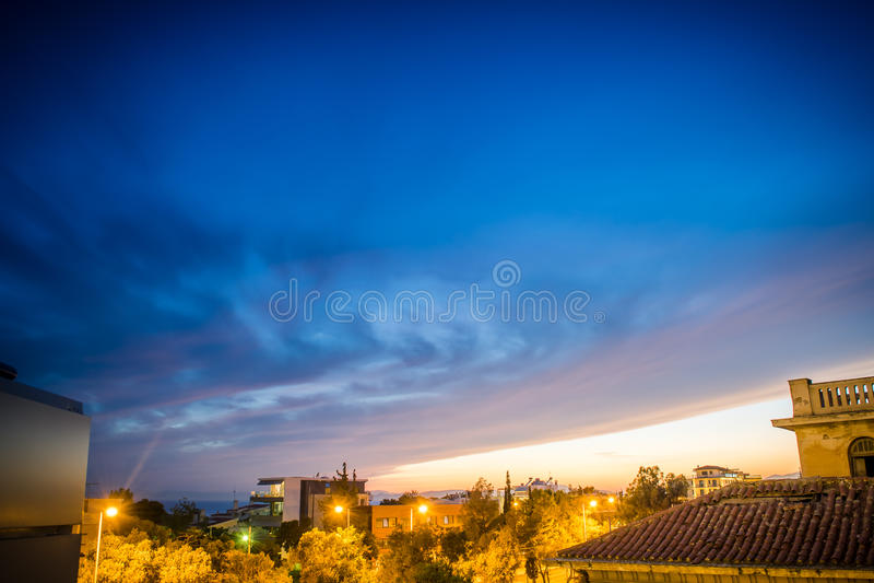 De Zonsondergang van Athene royalty-vrije stock foto's