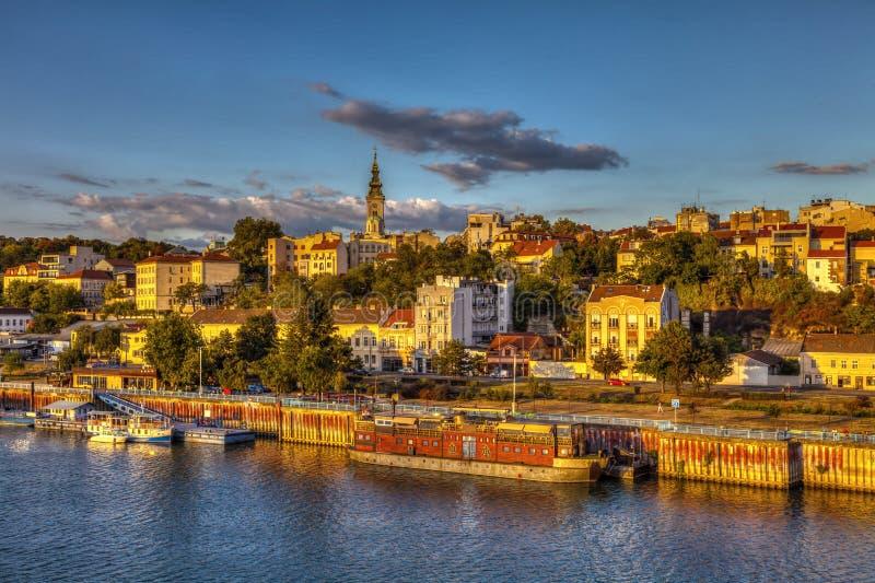 De zonsondergang van Belgrado royalty-vrije stock foto