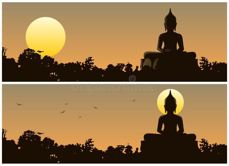 De zonsondergang van Boedha royalty-vrije illustratie