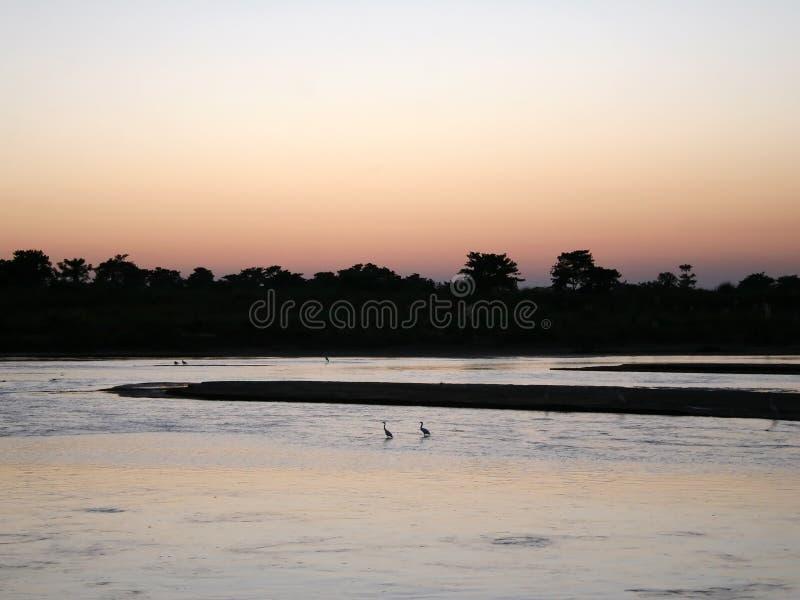 De Zonsondergang van Chitwan - Nepal stock afbeeldingen