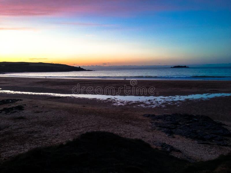 De Zonsondergang van Cornwall stock afbeelding