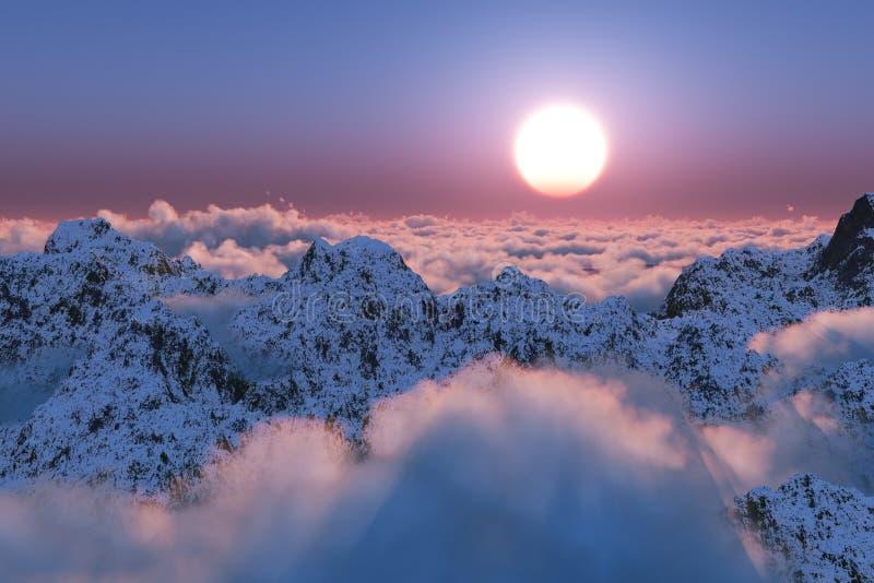 De zonsondergang van de berg voorbij de wolken royalty-vrije stock afbeeldingen
