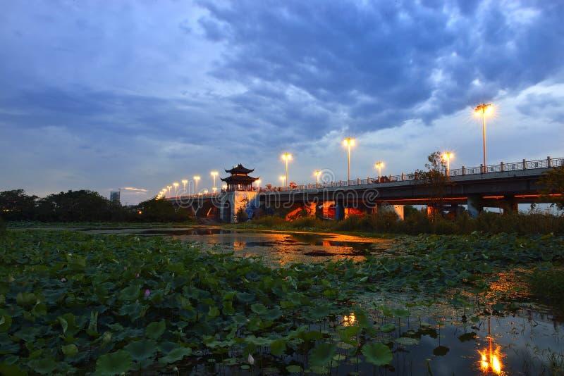 De zonsondergang van de brug royalty-vrije stock fotografie