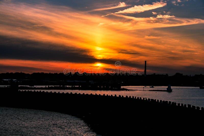De zonsondergang van de de lentetijd royalty-vrije stock foto
