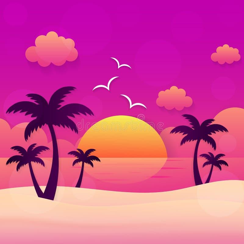 De zonsondergang van de de zomervakantie vector illustratie