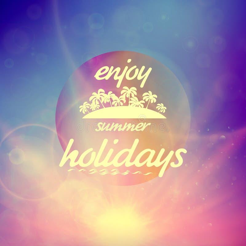 De zonsondergang van de de zomervakantie met defocused lichten royalty-vrije illustratie