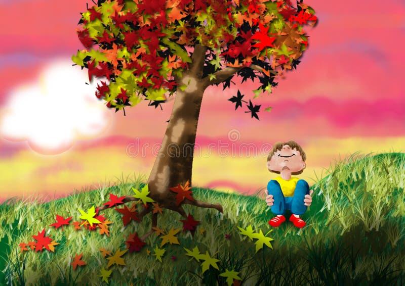 De Zonsondergang van de herfst stock afbeelding