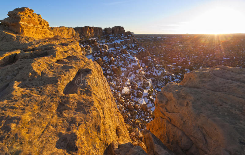 De Zonsondergang van de Klippen van Sandtone royalty-vrije stock foto's