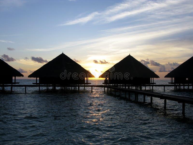 De zonsondergang van de Maldiven royalty-vrije stock foto