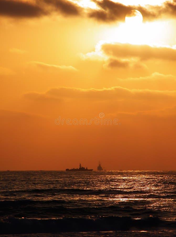 De zonsondergang van de marine stock foto's