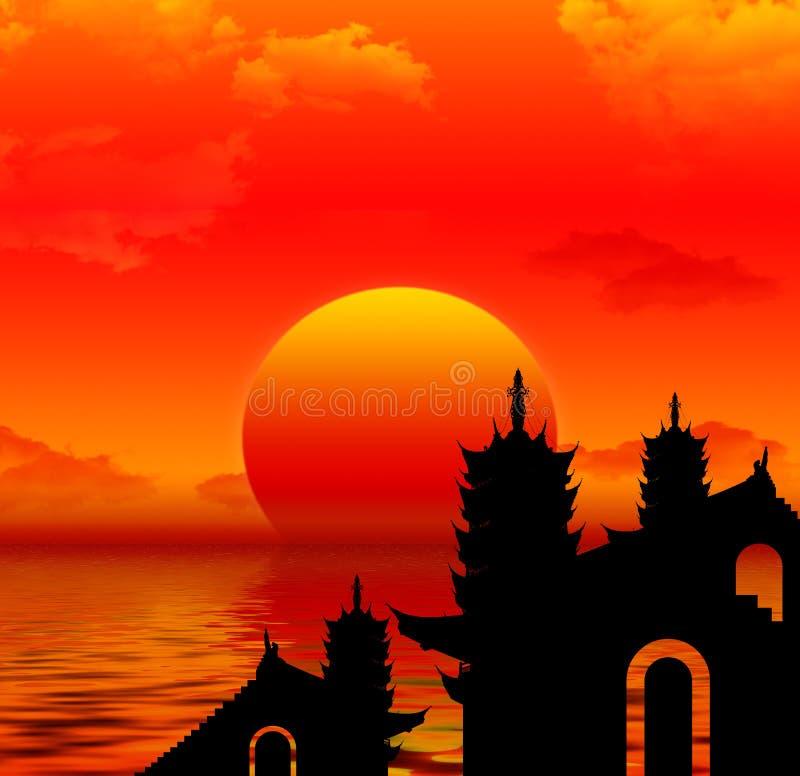 De zonsondergang van de pagode silhoutte stock illustratie