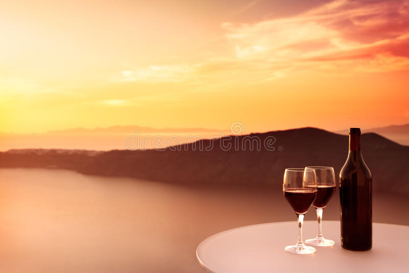 De Zonsondergang van de rode Wijn royalty-vrije stock foto's