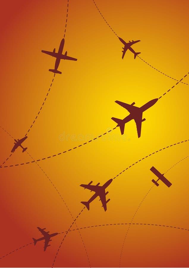 De Zonsondergang van de Routes van het vliegtuig stock illustratie