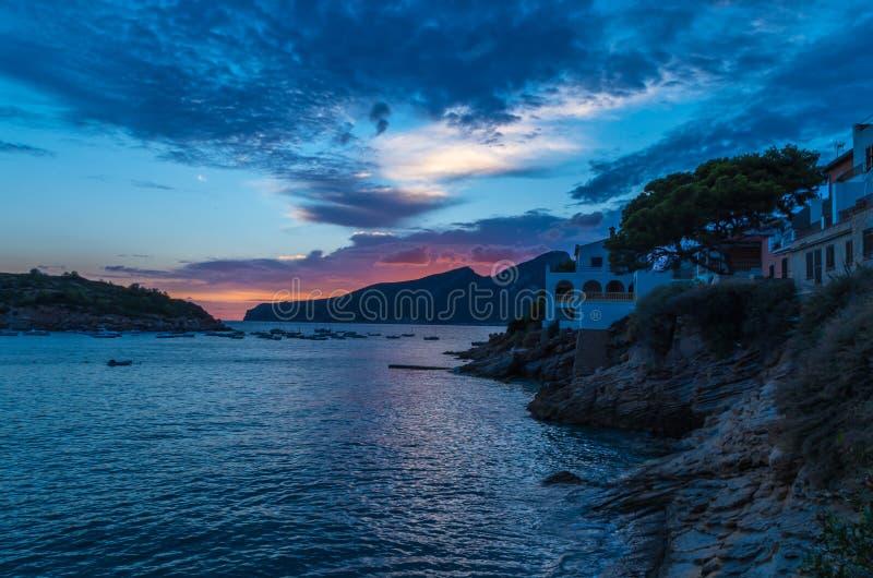 De Zonsondergang van de Santiep in September, Mallorca, de Balearen, Spanje royalty-vrije stock afbeeldingen