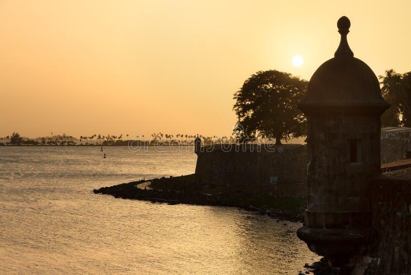 De zonsondergang van de schildwachtdoos royalty-vrije stock fotografie