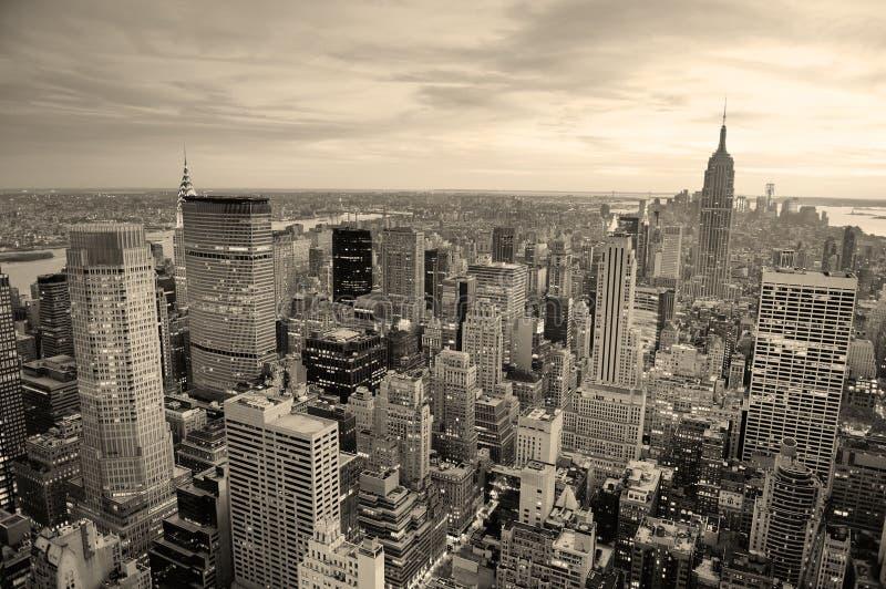 De zonsondergang van de Stad van New York stock afbeelding