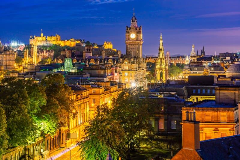 De zonsondergang van Edinburgh stock afbeeldingen