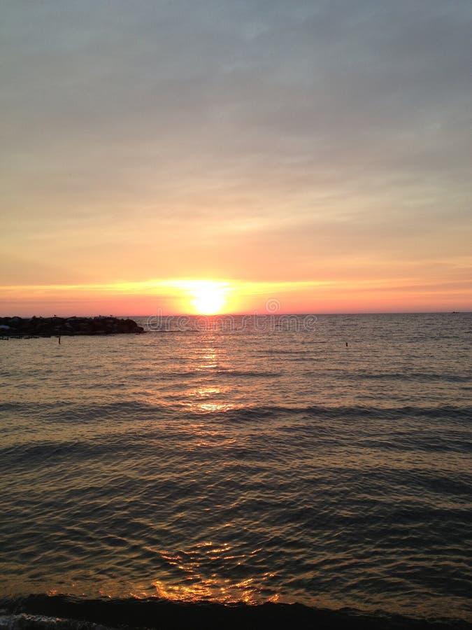 De Zonsondergang van Erie van het meer stock foto