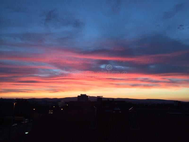 De zonsondergang van Frankfurt stock fotografie