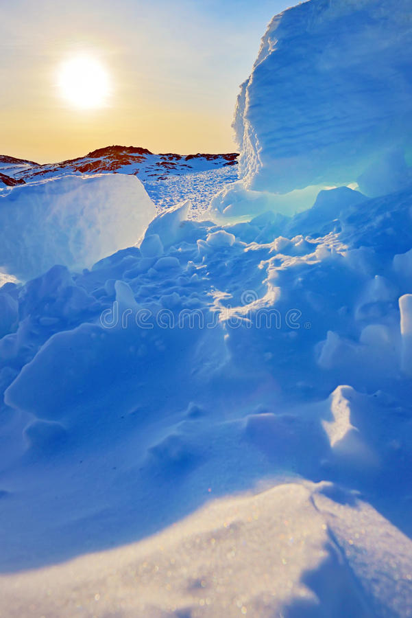 De zonsondergang van Groenland royalty-vrije stock foto's